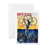 Vintage Bicycle Girl Greeting Card