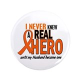 "Never Knew A Hero 2 ORANGE (Husband) 3.5"" Button"