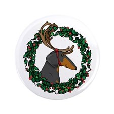 "Reindeer BT Weiner Dog 3.5"" Button (100 pack)"