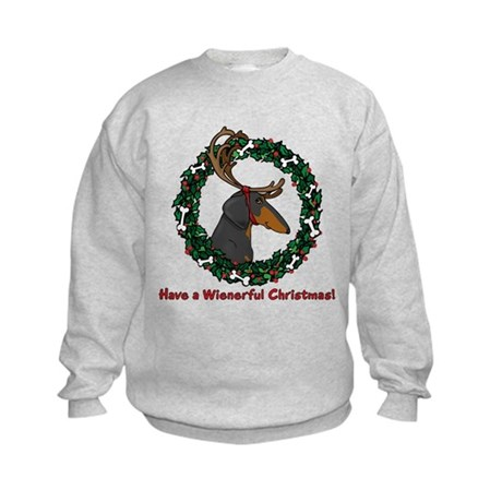 Reindeer BT Weiner Dog Kids Sweatshirt