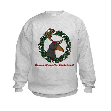 Reindeer BT Weiner Dog Kids Sweatshirt