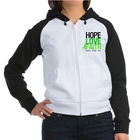 Lymphoma Hope Love Faith Women's Raglan Hoodie