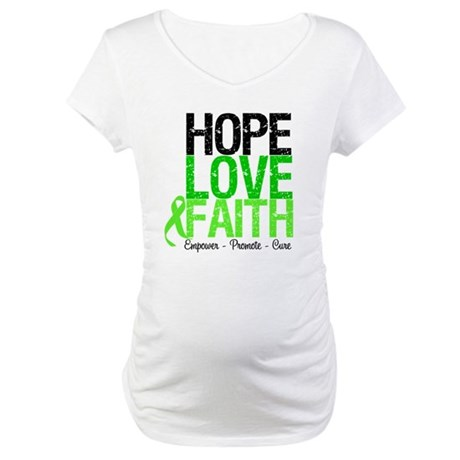 Lymphoma Hope Love Faith Maternity T-Shirt