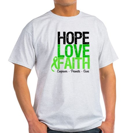 Lymphoma Hope Love Faith Light T-Shirt