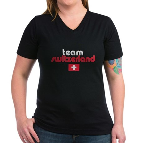 Team Switzerland Women's V-Neck Dark T-Shirt