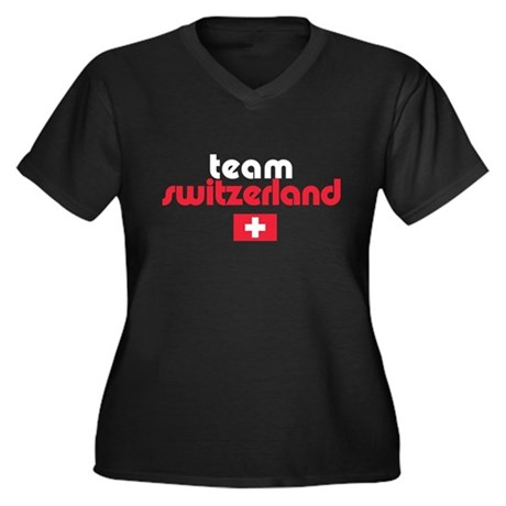 Team Switzerland Women's Plus Size V-Neck Dark Tee