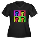 Obama Warhol Women's Plus Size V-Neck Dark T-Shirt