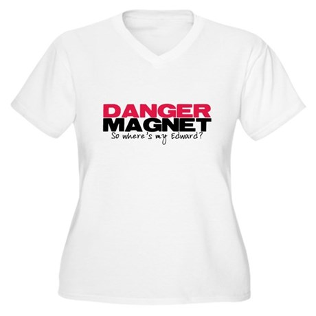 Danger Magnet Edward Women's Plus Size V-Neck T-Sh