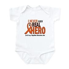 Never Knew A Real Hero 2 ORANGE Infant Bodysuit
