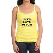 Live, Love, Pitch (Baseball) Jr.Spaghetti Strap