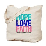 Thyroid Cancer Hope Love Faith Tote Bag