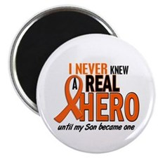 "Never Knew A Real Hero 2 ORANGE 2.25"" Magnet (10 p"