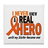 Never Knew A Real Hero 2 ORANGE Tile Coaster