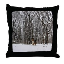 Collie in Winter Throw Pillow