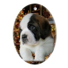 Saint Puppy Christmas Oval Ornament
