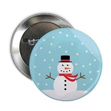 "Snowman in a Snow Globe 2.25"" Button"