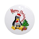 Merry Christmas Penguins  Ornament (Round)