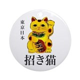 Gold Maneki Neko Ornament (Round)