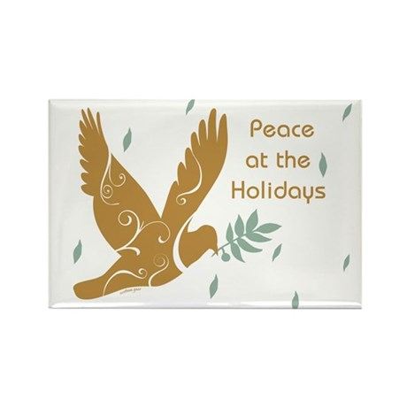 Golden Dove Holiday Rectangle Magnet