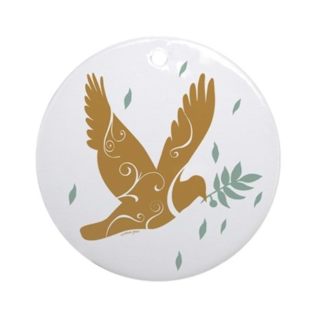 Golden Dove Ornament (Round)