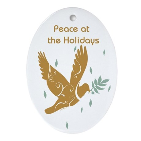 Golden Dove Holiday Oval Ornament