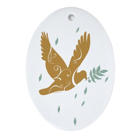 Golden Dove Oval Ornament