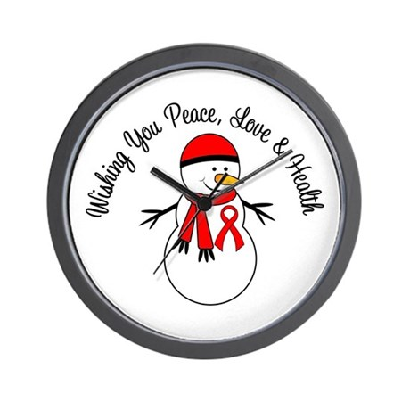Christmas Snowman Red Ribbon Wall Clock