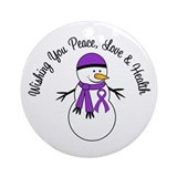 Christmas Snowman Purple Ribbon Ornament (Round)