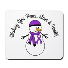 Christmas Snowman Purple Ribbon Mousepad