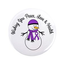 "Christmas Snowman Purple Ribbon 3.5"" Button (100 p"