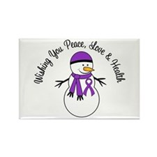 Christmas Snowman Purple Ribbon Rectangle Magnet
