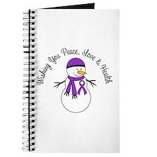 Christmas Snowman Purple Ribbon Journal