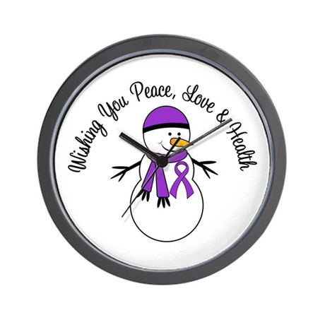 Christmas Snowman Purple Ribbon Wall Clock