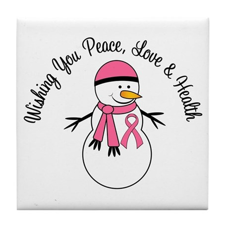 Christmas Snowman Breast Cancer Tile Coaster
