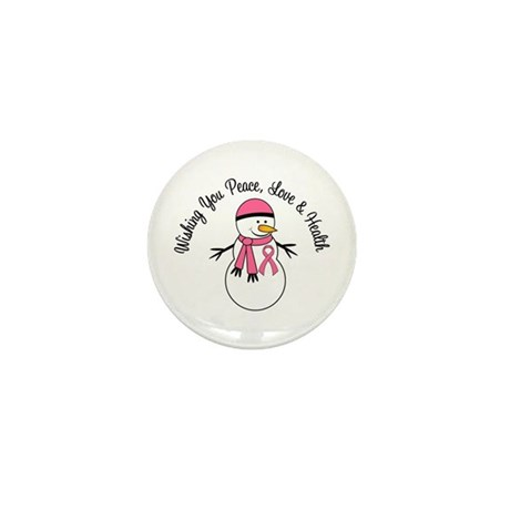 Christmas Snowman Breast Cancer Mini Button