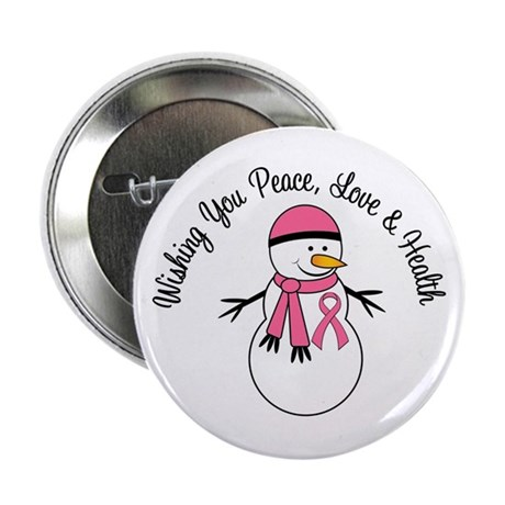 Christmas Snowman Breast Cancer 2.25&quot; Button