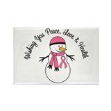 Christmas Snowman Breast Cancer Rectangle Magnet (