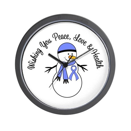 Christmas Snowman Periwinkle Ribbon Wall Clock
