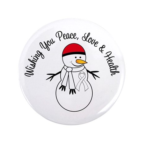 "Christmas Snowman White Ribbon 3.5"" Button (100 pa"