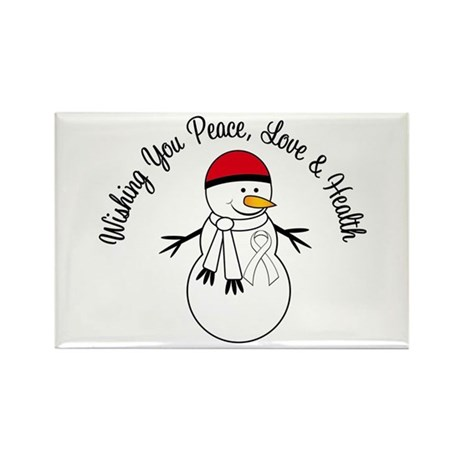 Christmas Snowman White Ribbon Rectangle Magnet (1