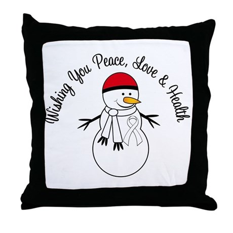 Christmas Snowman White Ribbon Throw Pillow