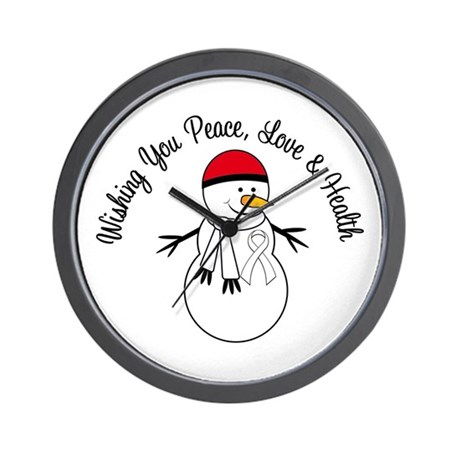 Christmas Snowman White Ribbon Wall Clock