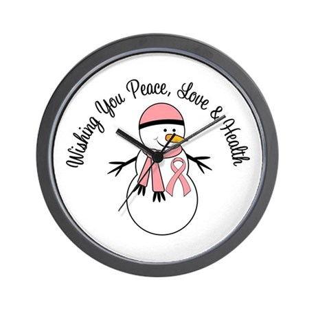 Christmas Snowman Peach Ribbon Wall Clock