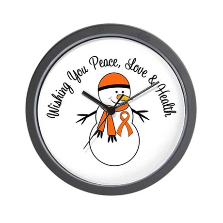 Christmas Snowman Orange Ribbon Wall Clock
