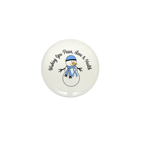 Christmas Snowman Lt Blue Ribbon Mini Button