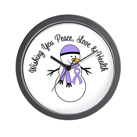 Christmas Snowman Cancer Wall Clock
