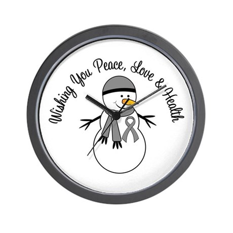 Christmas Snowman Grey Ribbon Wall Clock