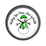 Christmas Snowman Green Ribbon Wall Clock