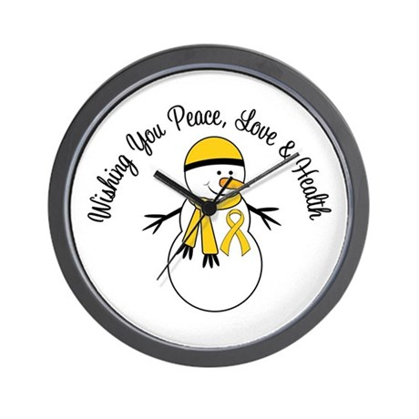 Christmas Snowman Gold Ribbon Wall Clock