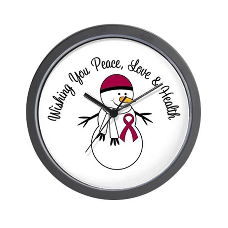 Christmas Snowman Burgundy Ribbon Wall Clock